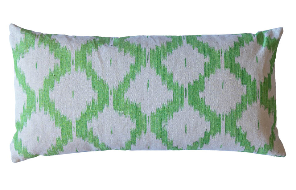 MALLORCAN FABRIC CUSHION -  APPLE GREEN LARGE CHEVRON