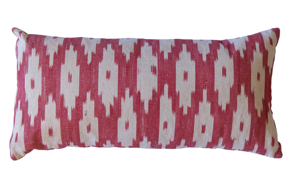 MALLORCAN FABRIC CUSHION - APPLE RED LARGE CHEVRON