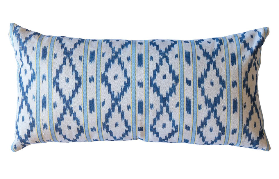 MALLORCAN FABRIC CUSHION - PALE BLUE AND YELLOW STRIPE WITH BLUE MEDIUM CHEVRON