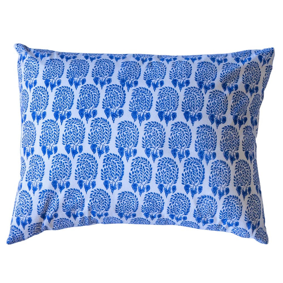 BLOCK PRINT CUSHION IN BUMBLE BLUE