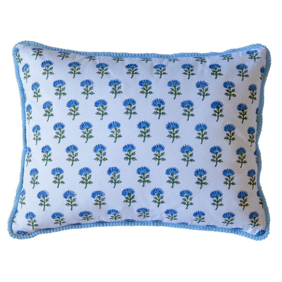 BLOCK PRINT CUSHION IN SMALL LOTUS JAL BLUE
