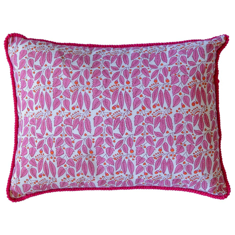 BLOCK PRINT CUSHION IN VINE BUTA PINK
