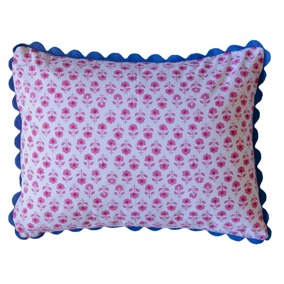 BLOCK PRINT CUSHION IN FLOWER BUTA IN PINK