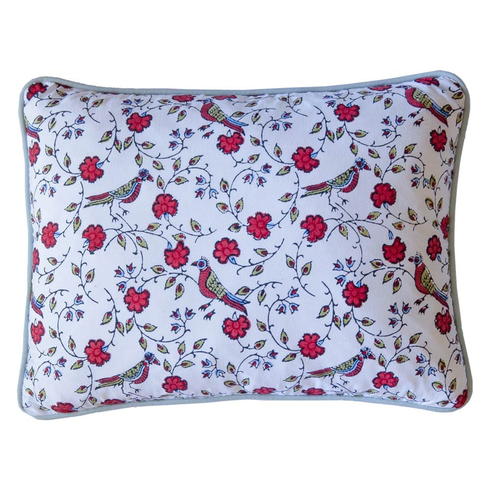 BLOCK PRINT CUSHION IN BIRD JAL RED