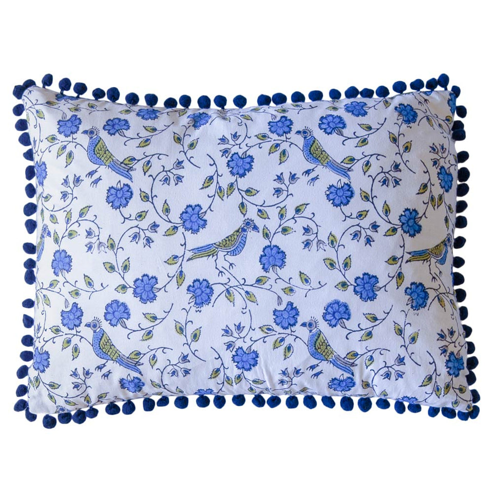 BLOCK PRINT CUSHION IN BIRD JAL BLUE