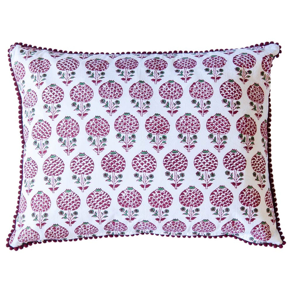BLOCK PRINT CUSHION IN MOGHUL ROSE RED