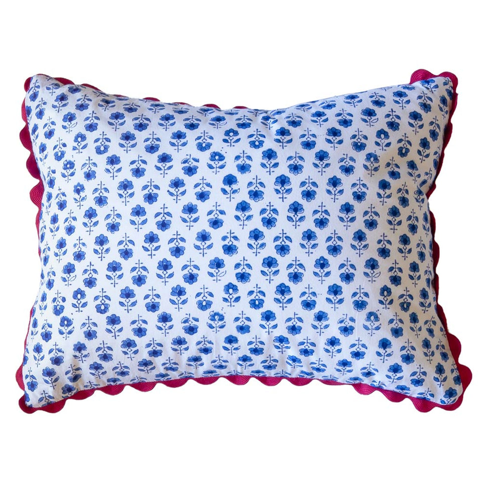 BLOCK PRINT CUSHION IN FLOWER BUTA IN BLUE