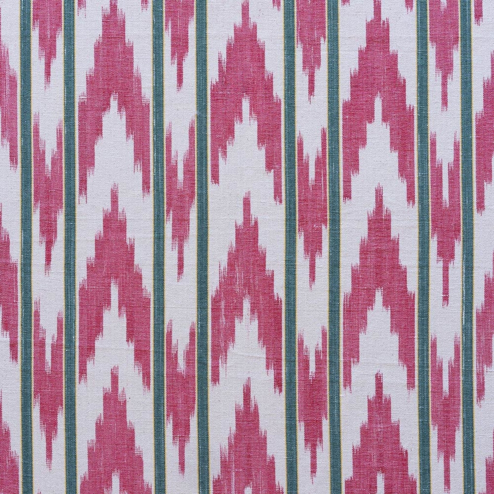 BUJOSA FABRIC - RED ZIGZAG WITH GREEN STRIPE
