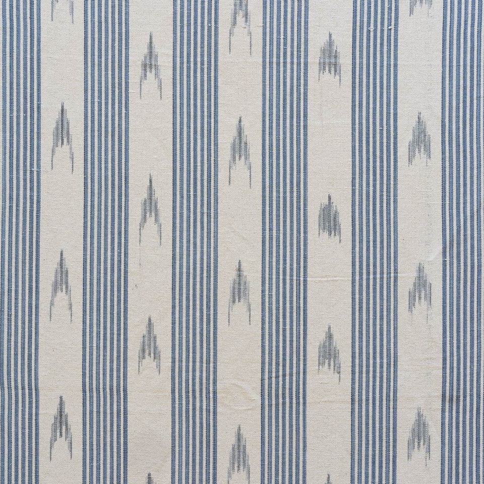 BUJOSA FABRIC - BLUE STRIPE WITH GREY HALF CHEVRON