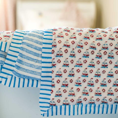 BOAT COT QUILT IN BLUE