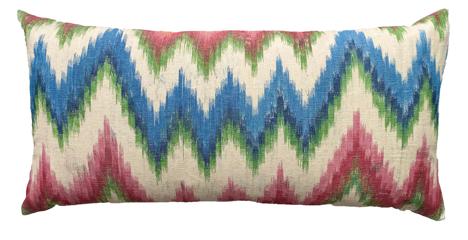 MALLORCAN FABRIC CUSHION - FLAMESTITCH MULTICOLOUR