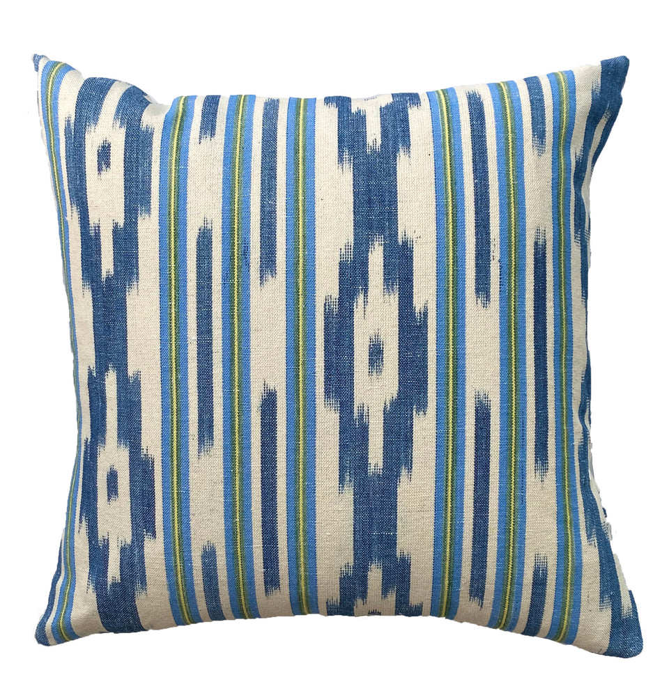 MALLORCAN FABRIC CUSHION - MULTISTRIPE WITH INDIGO CHEVRON