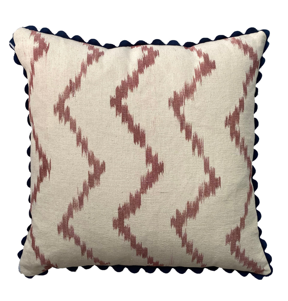 MALLORCAN FABRIC CUSHION - TERRACOTTA ZIGZAG WITH NAVY SCALLOP EDGING