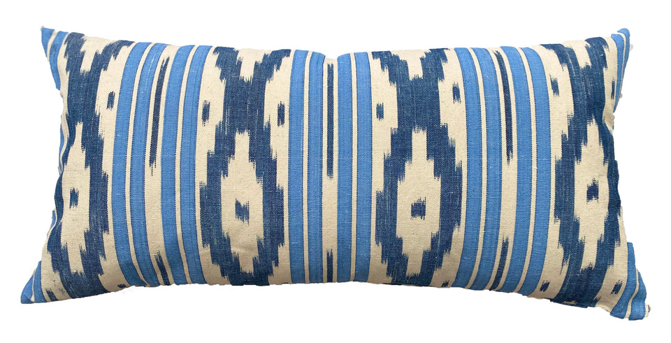 MALLORCAN FABRIC CUSHION - AIRFORCE BLUE STRIPE WITH INDIGO CHEVRON