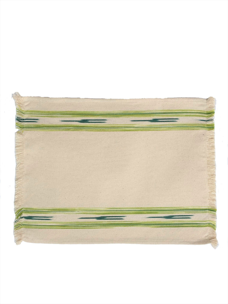Cream fabric placemat with green ikat stripe