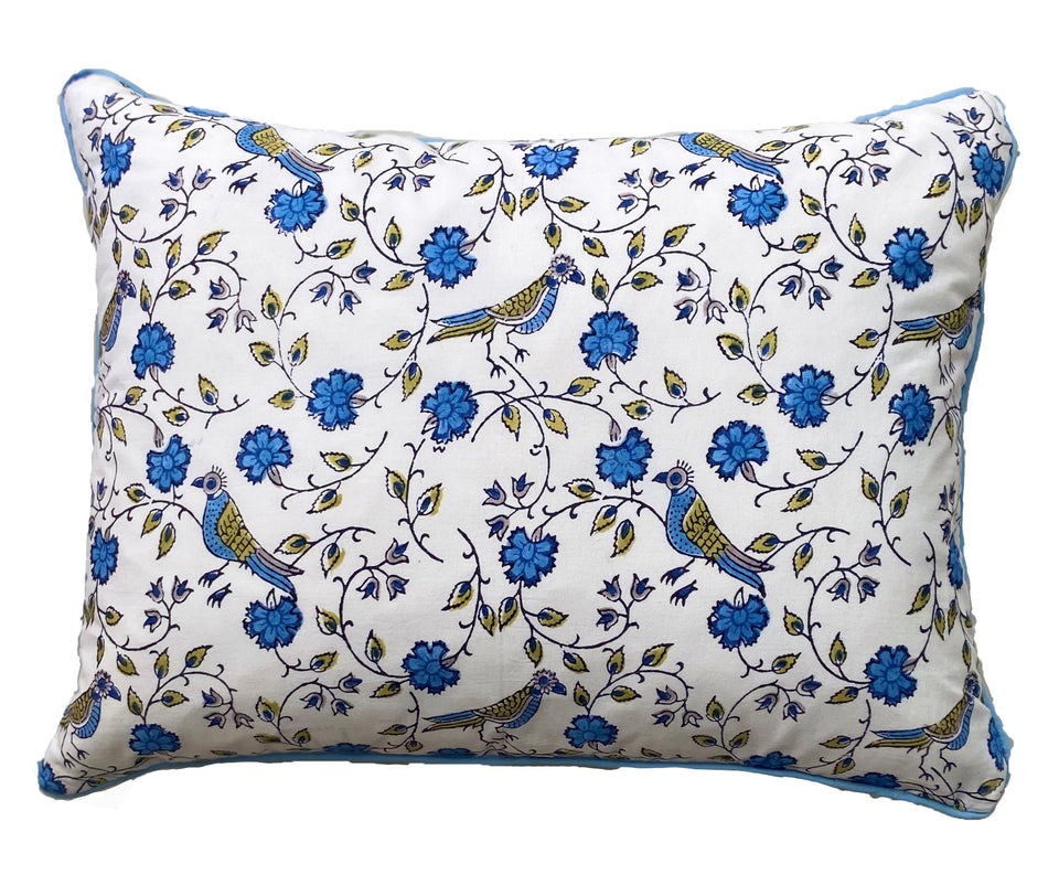 BLOCK PRINT CUSHION IN BIRD JAL BLUE WITH PALE BLUE PIPING
