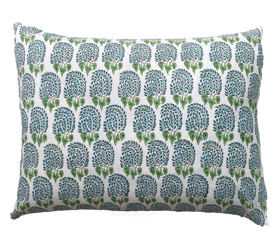 BLOCK PRINT CUSHION IN BUMBLE AQUA
