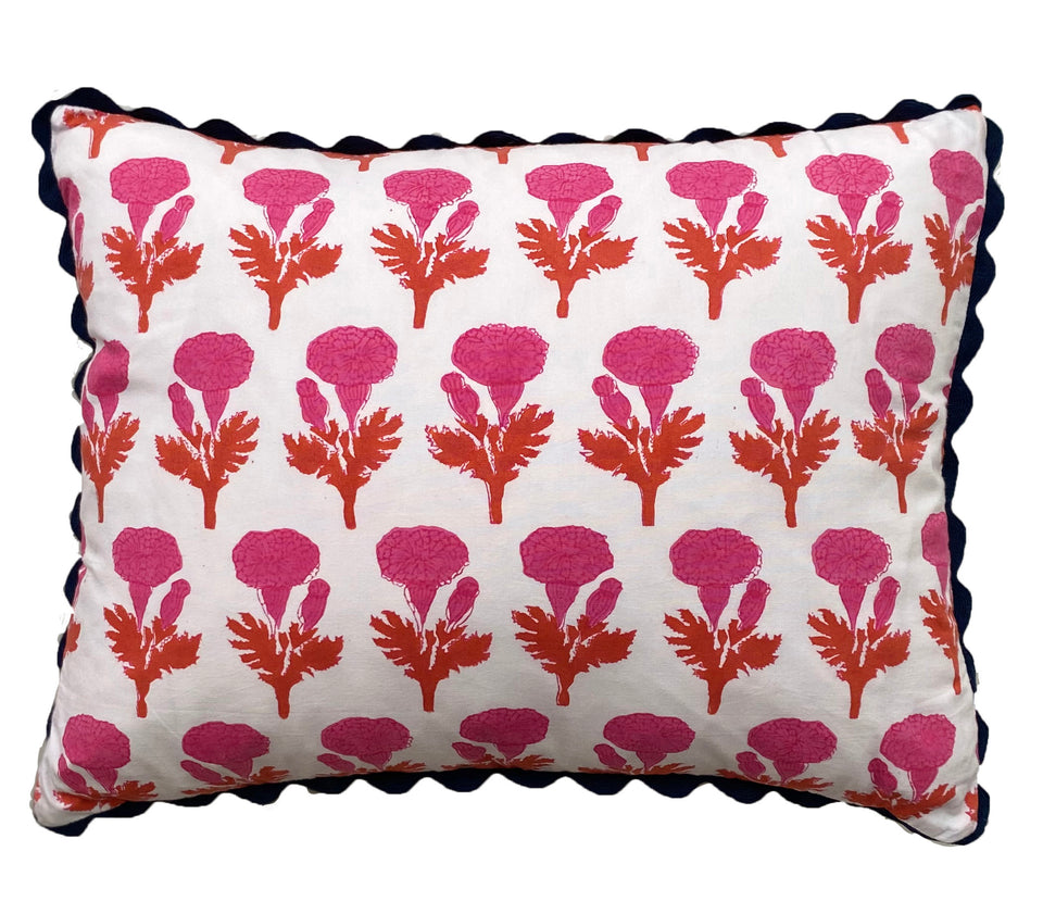 BLOCK PRINT CUSHION IN MARIGOLD PINK/ORANGE