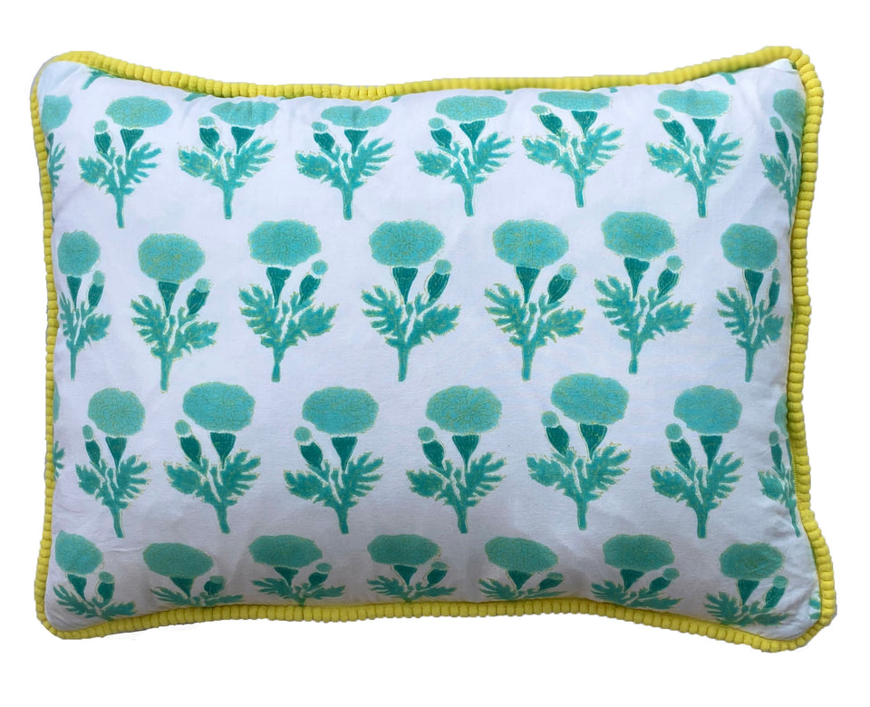BLOCK PRINT CUSHION IN MARIGOLD GREEN