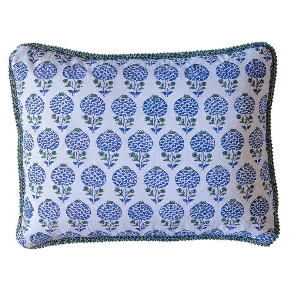 BLOCK PRINT CUSHION IN MOGHUL ROSE BLUE
