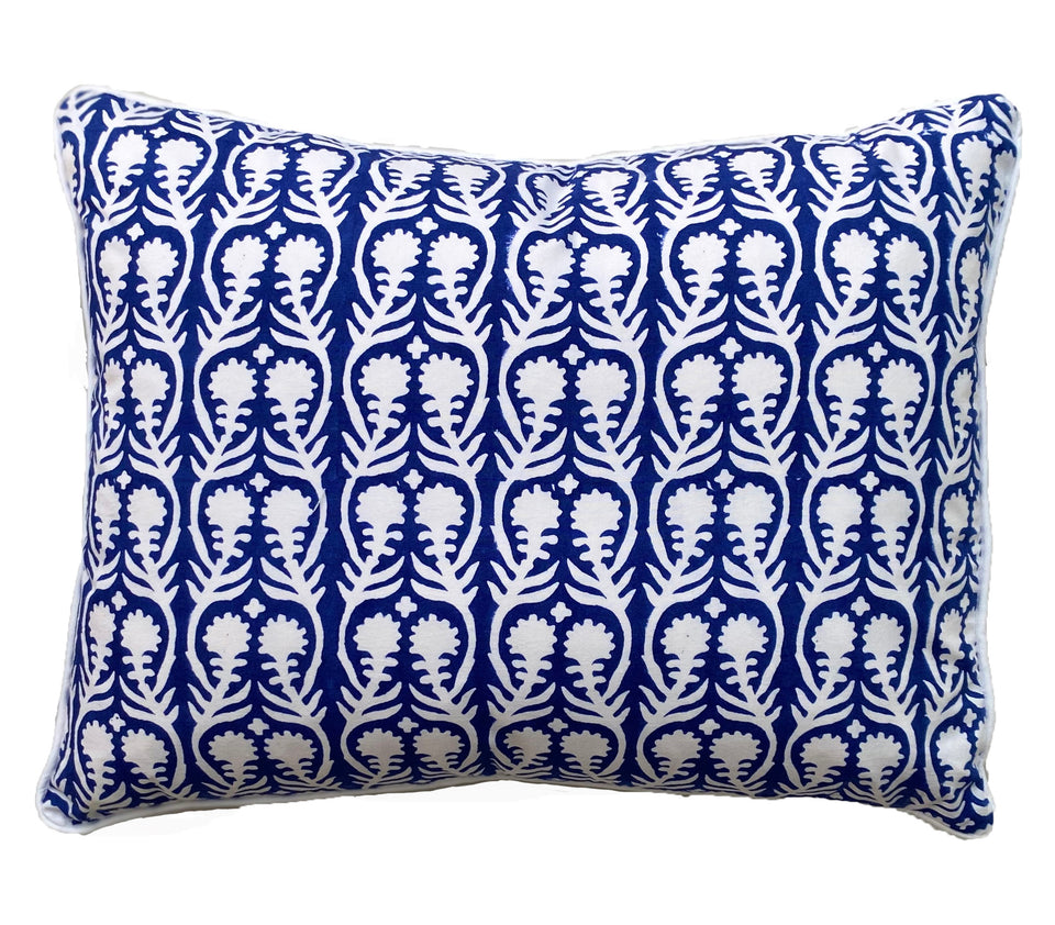 BLOCK PRINT CUSHION IN SALLY BLUE