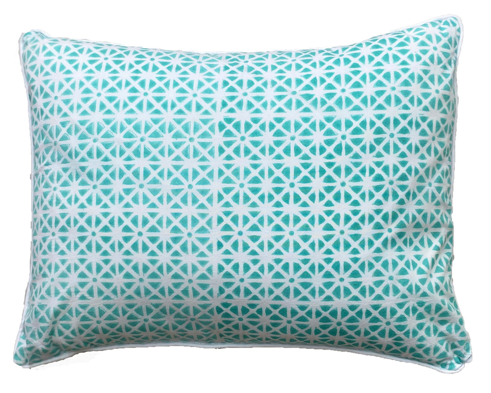 BLOCK PRINT CUSHION IN SUNFLOWER AQUA