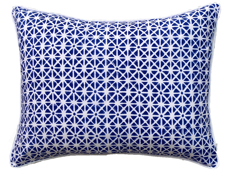 BLOCK PRINT CUSHION IN SUNFLOWER BLUE