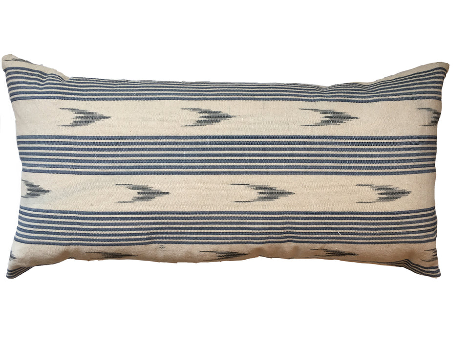 MALLORCAN FABRIC CUSHION - BLUE STRIPE WITH GREY SMALL CHEVRON