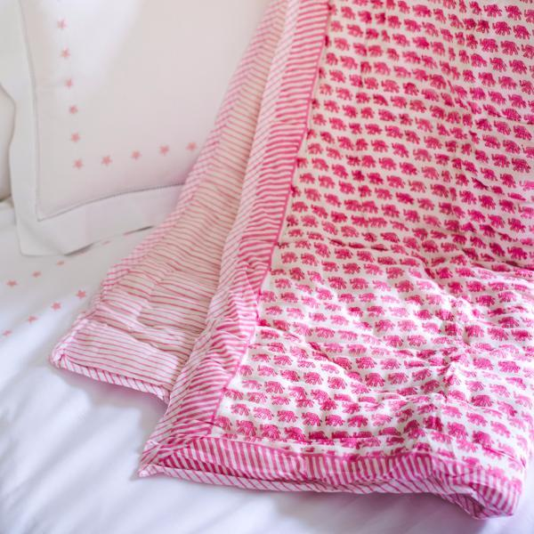 PINK ELEPHANT COT QUILT
