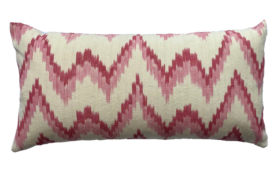 MALLORCAN FABRIC CUSHION - FLAMESTITCH PINK