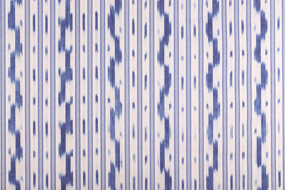 VICENS FABRIC - PALE BLUE STRIPE WITH INDIGO WAVE