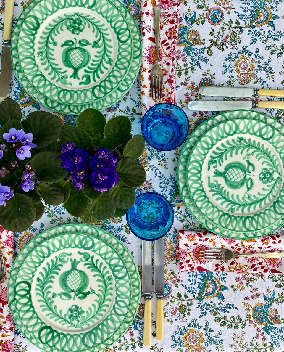 MEADOW TABLECLOTH IN TEAL