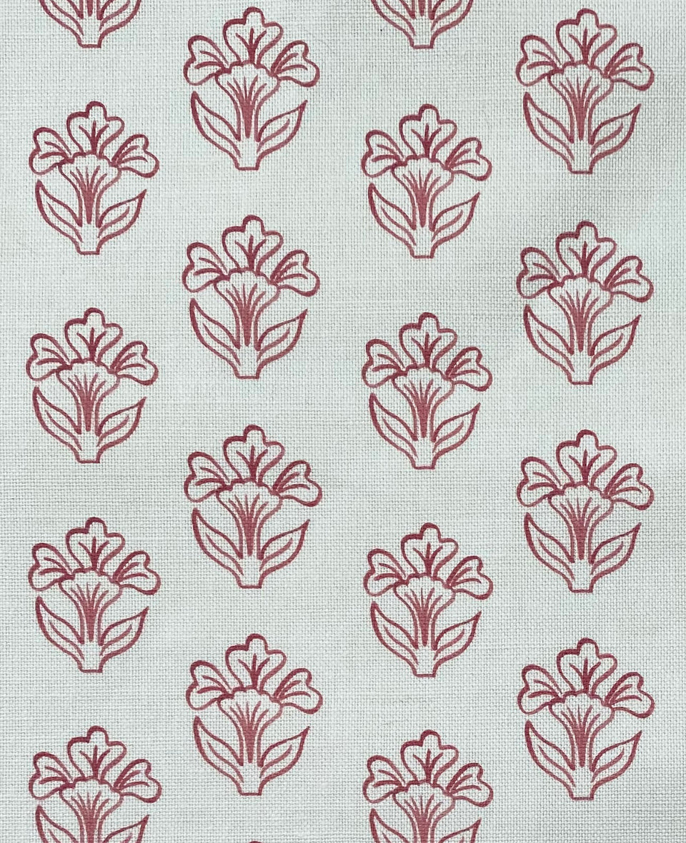 Inspired by block print, floral pink motif printed in England