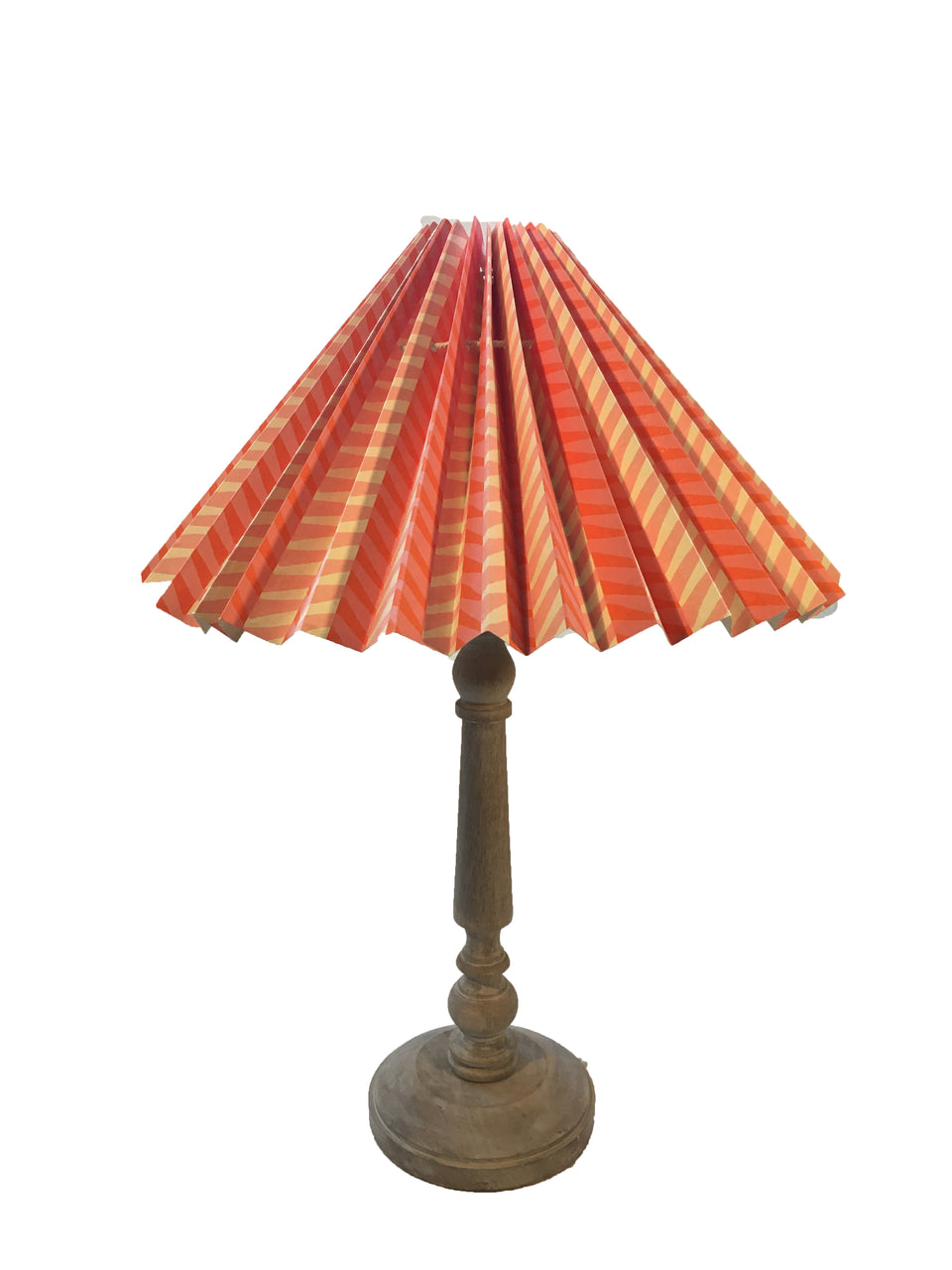 HANDMADE PAPER LAMPSHADE IN ORANGE AND PINK ZIGZAG PATTERN