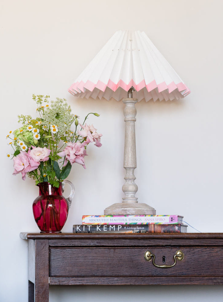 HANDMADE PAPER LAMPSHADE PLAIN WHITE WITH PINK BOTTOM EDGE