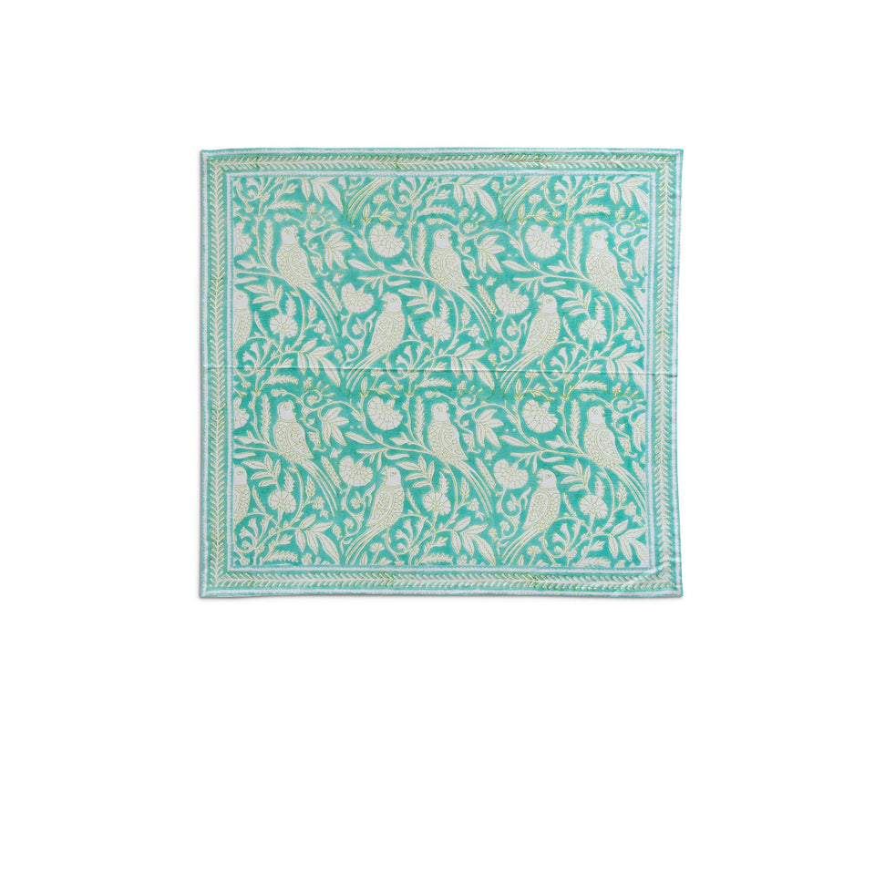PARROT NAPKIN IN AQUA  (SET OF 4)