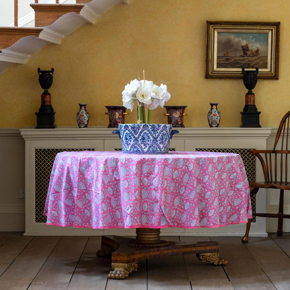 LOTUS JAL TABLECLOTH IN PINK