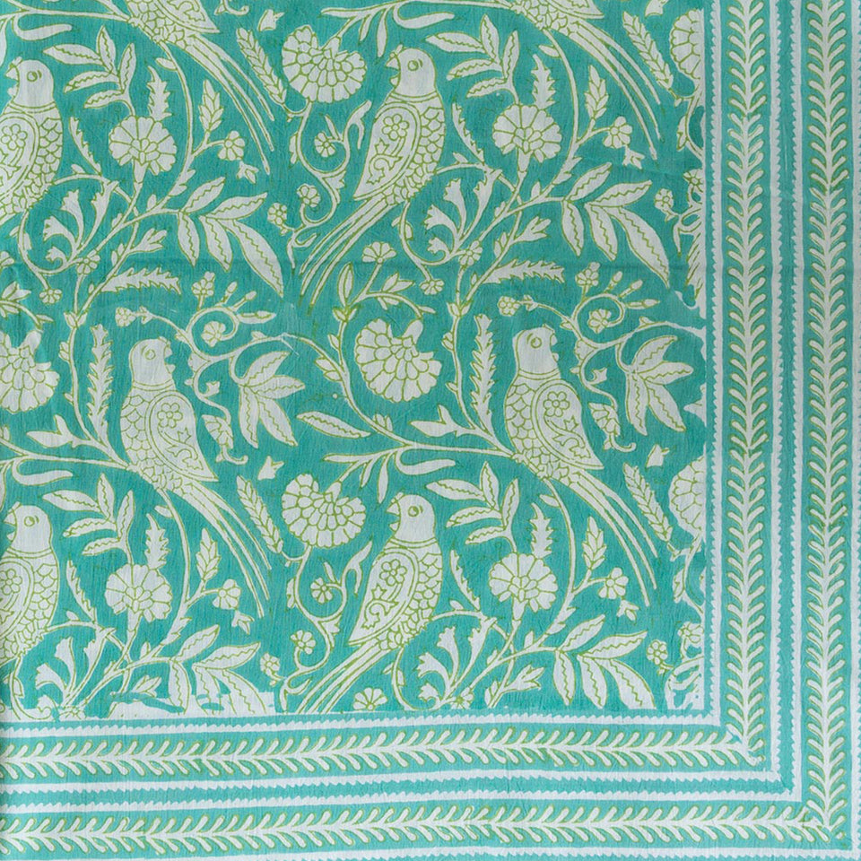 PARROT TABLECLOTH IN AQUA