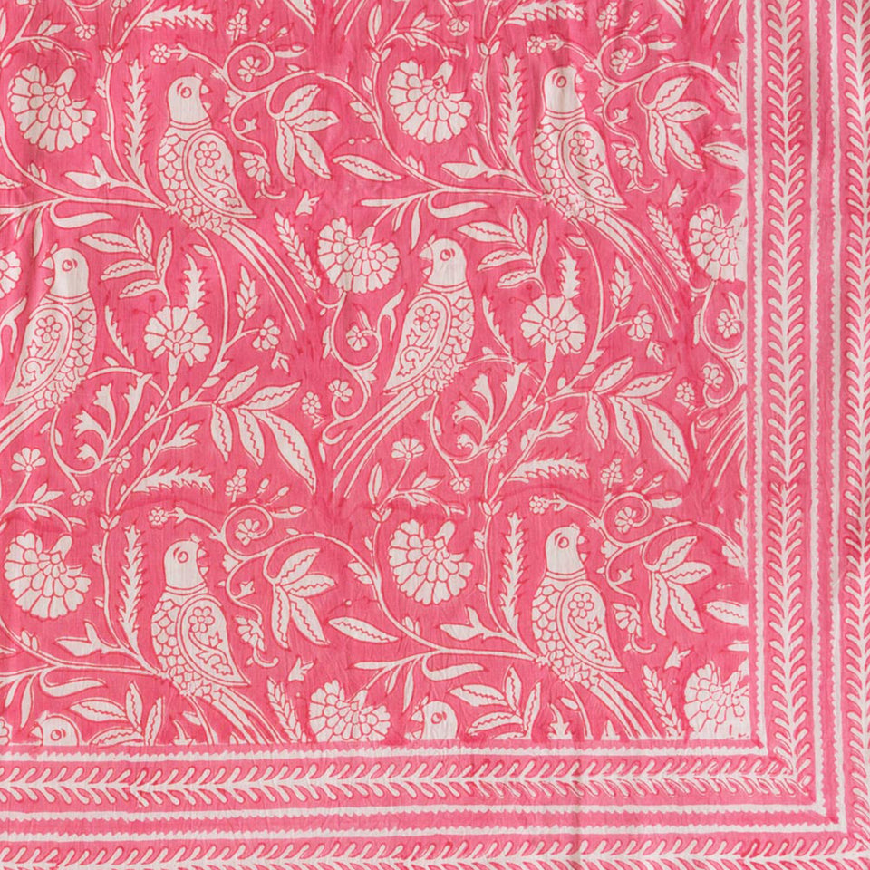 PARROT TABLECLOTH IN PINK