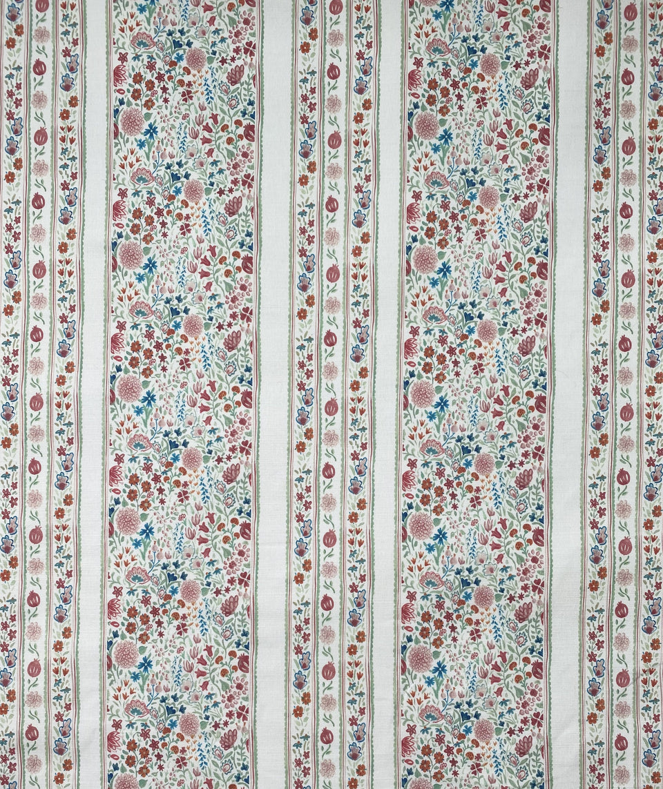 Floral moghul garden inspired fabric with delicate stripes
