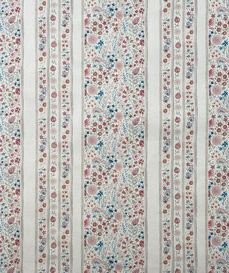 Moghul garden inspired fabric with delicate flowers interspersed with elegant stripes