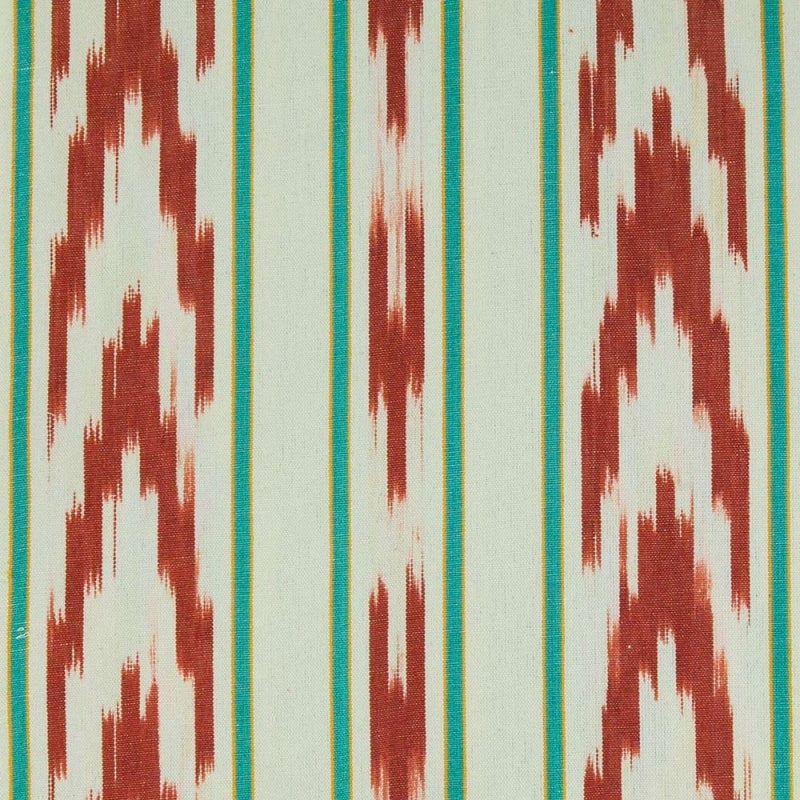 TEIXITS RIERA - TERRACOTTA CHEVRON AND AQUA STRIPE