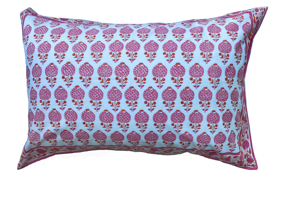 BLOCK PRINT PILLOWCASE - MOGHUL ROSE PINK
