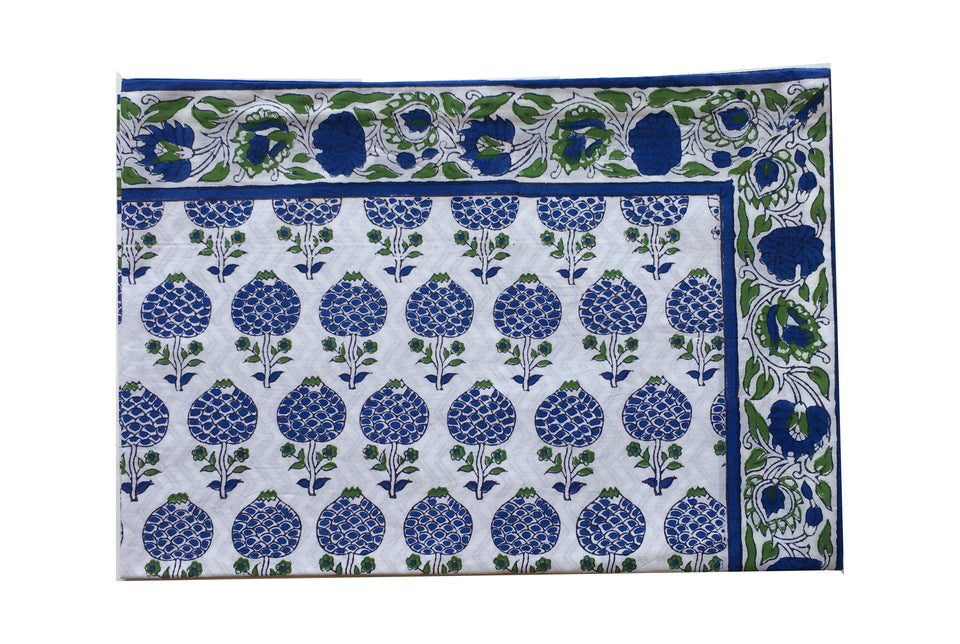 BLOCK PRINT PILLOWCASE - MOGHUL ROSE IN BLUE