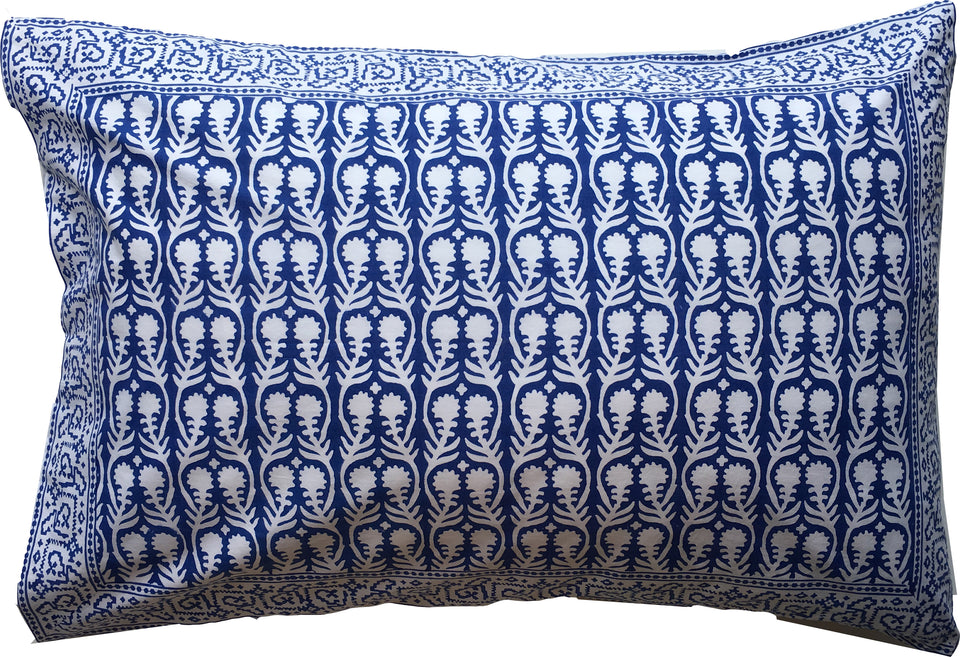 BLOCK PRINT PILLOWCASE - SALLY IN BLUE