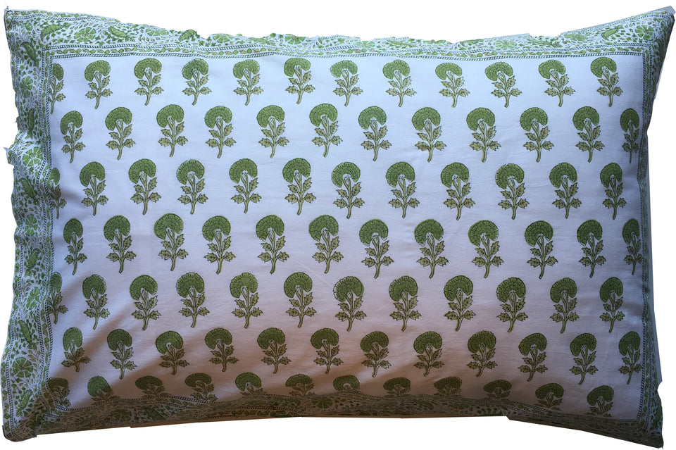 BLOCK PRINT PILLOWCASE - BIRD BUTA GREEN