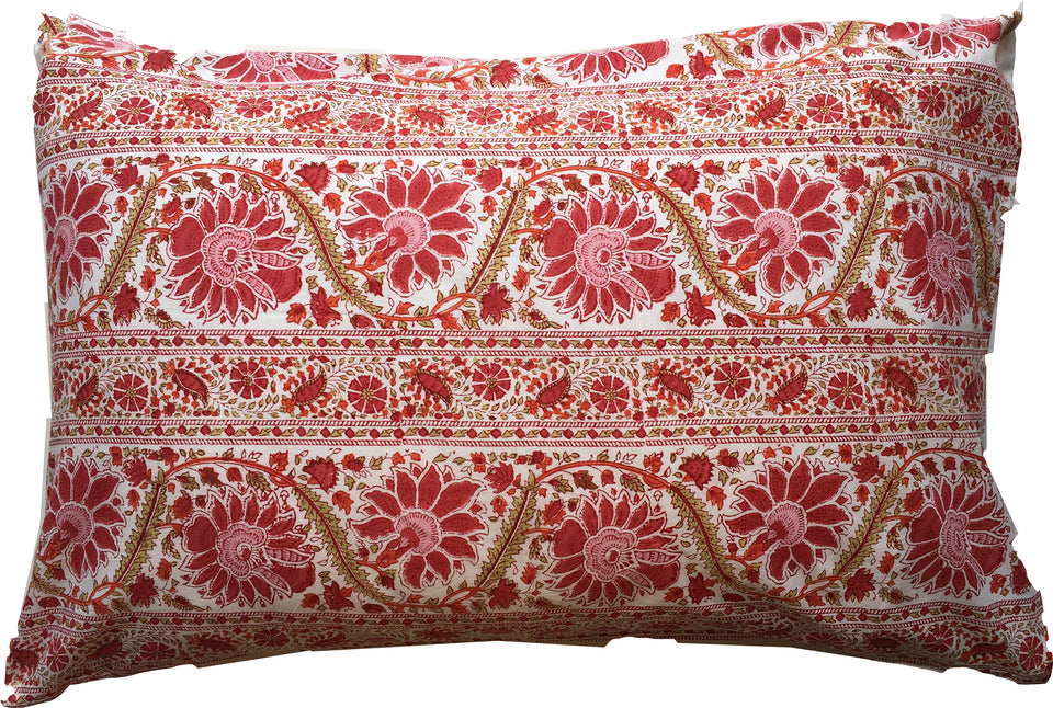 BLOCK PRINT PILLOWCASE - BIRD BUTA RED