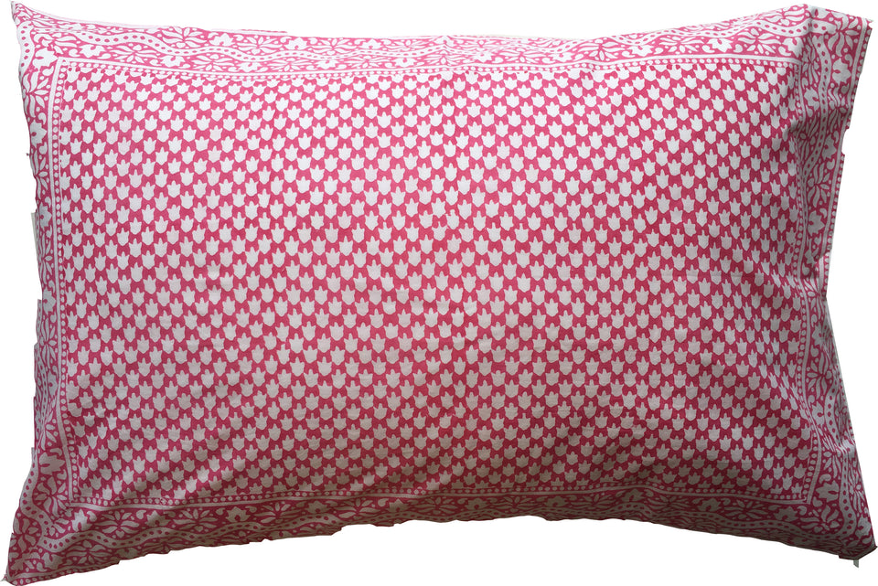 BLOCK PRINT PILLOWCASE - CHICKEN FEET IN PINK