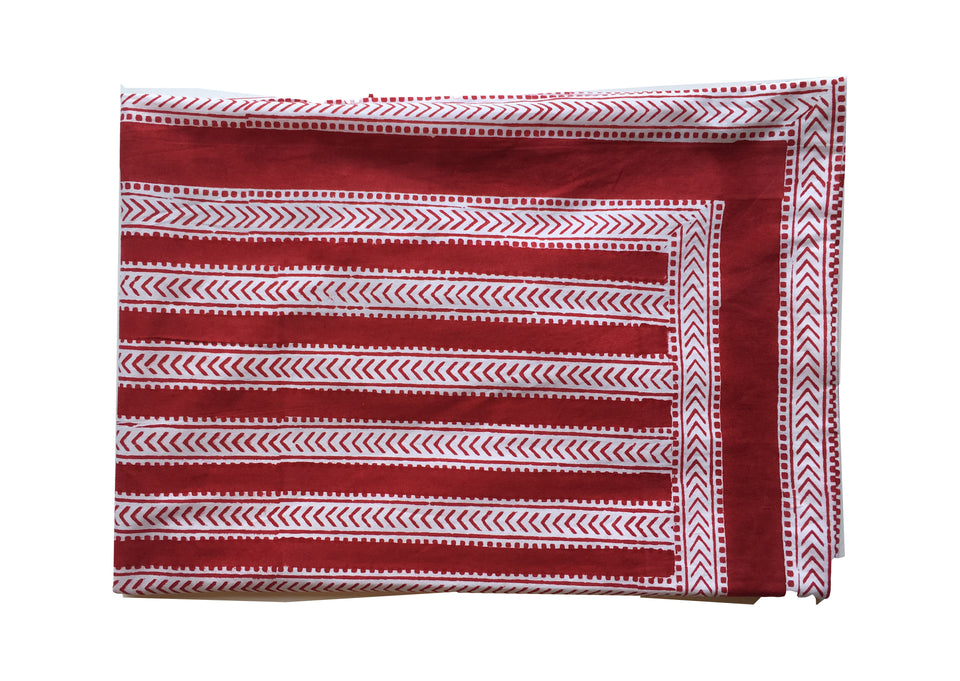 BLOCK PRINT PILLOWCASE - STRIPE IN RED