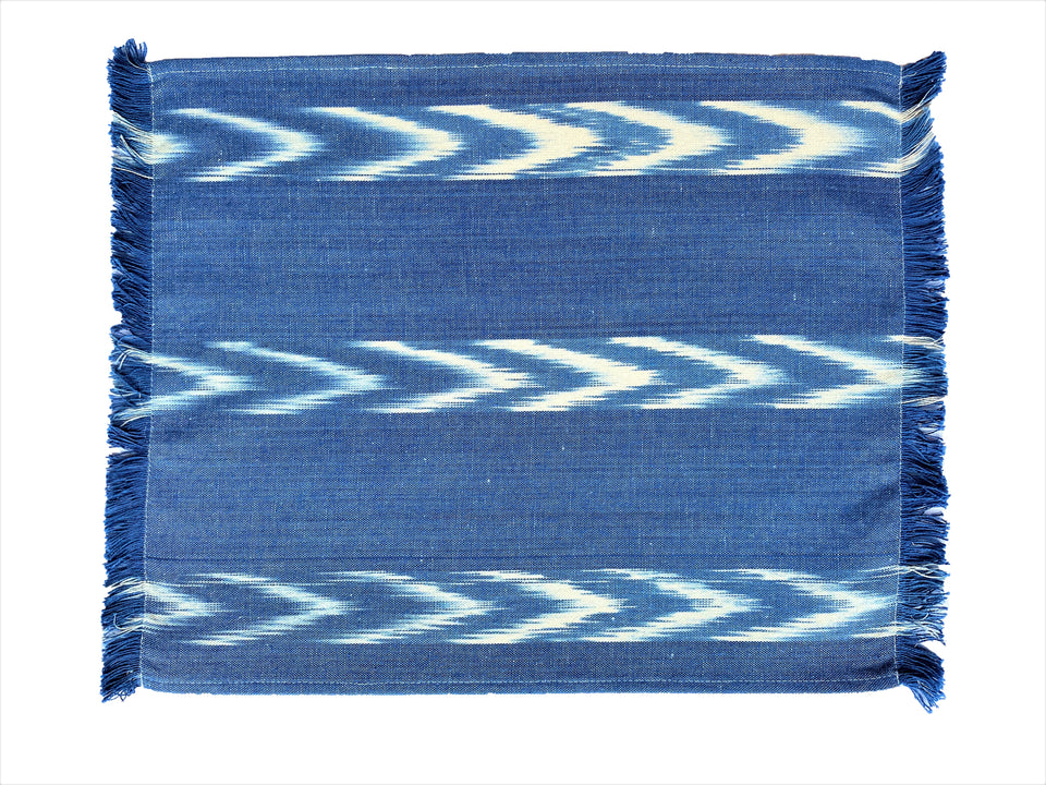 FABRIC PLACEMAT - BLUE WITH THREE IKAT CHEVRON STRIPES